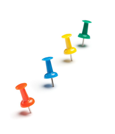 Office Close-up Design Elements Group Of Objects High Angle View Indoors  Isolated On White Material Multi Colored No People Push Pins Still Life Studio Shot Thumbtack White Background