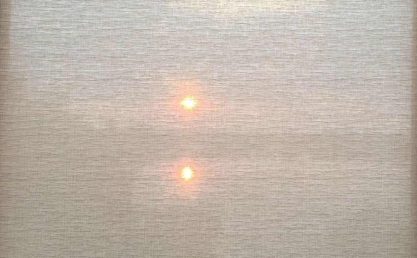 Good Morninging!✨] Good Morning! Sunrise Morning Sunshine sunrise on a lake seen behind the curtain