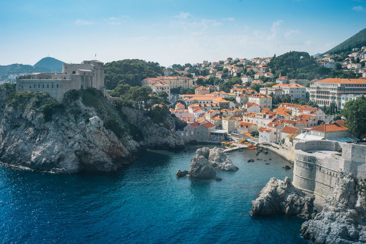 Old town of Dubrovnik, Croatia Water Architecture Built Structure Building Exterior Sea Nature Building Sky City Rock Rock - Object Waterfront Transportation Rock Formation Residential District Solid No People Mountain Travel Outdoors Cityscape Bay Game Of Thrones Old Town, Dubrovnik.