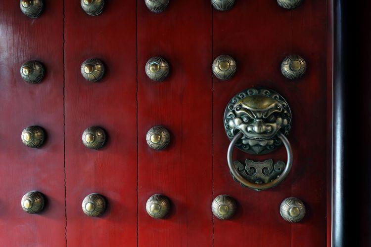Close-up of an old door knocker