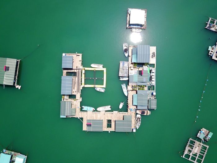 Directly Above Shot Of Boathouses