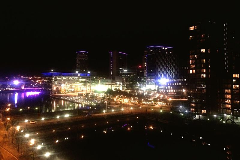 Nightphotography Night Lights City Media City Salford High Angle View Building Buildings City View  City Life