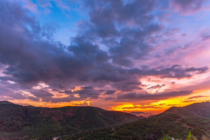 beautiful cloud at sunset over the high mountain Scenics - Nature Cloud - Sky Sky Beauty In Nature Mountain Tranquility Tranquil Scene Environment Landscape Nature Mountain Range No People Idyllic Non-urban Scene Outdoors Sunset Sky, Cloud,