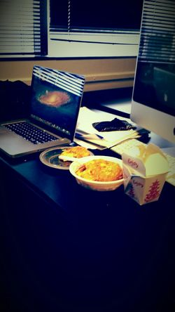 Im in my mini office at school today lol... jk Alot of Homework, Chinese food :) Collegelife