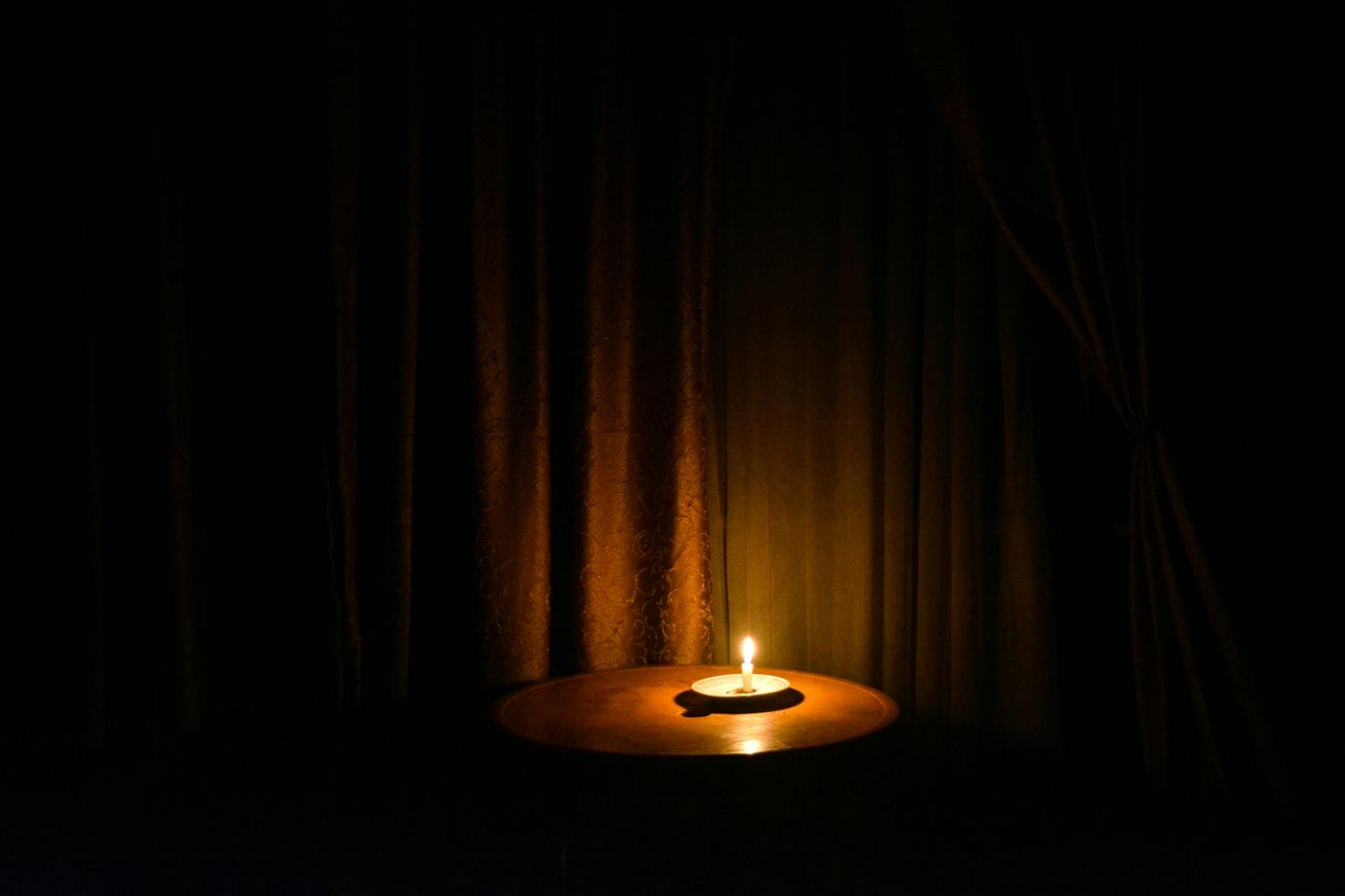 curtain, no people, candle, flame, indoors