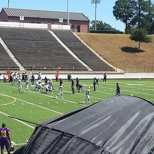 My current view....out in Tyler at my big bro game Texascollege Purple Gold