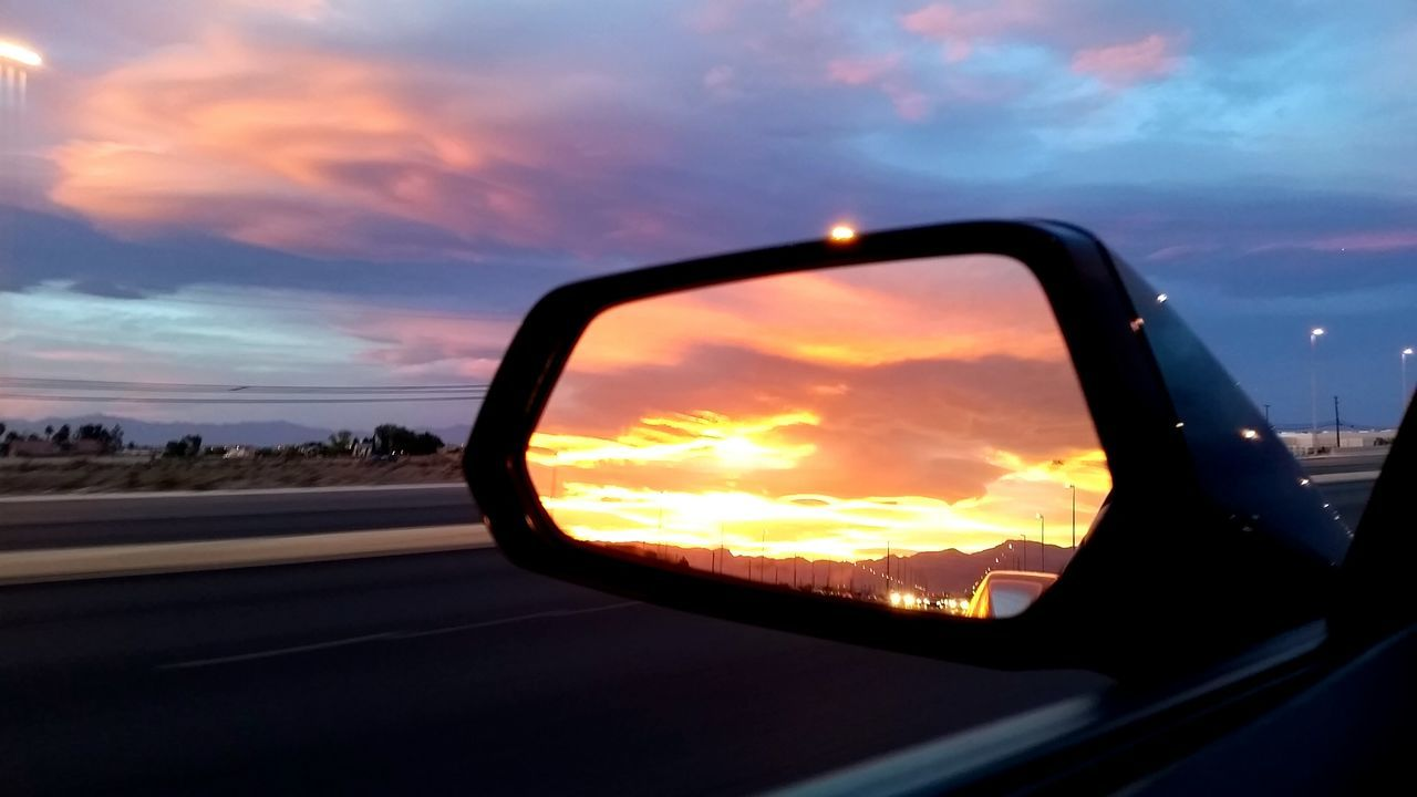 Amazing Colors Blue Sky Car Sights Cloud Cloud - Sky Commute Day Into Night Desert Sky Desert Sunset Fire In The Sky Looking Ahead And Behind Natural Beauty Natural Light Orange Sky Purple Sky Rearview Rearviewmirror Red Sky At Sunset Sky Sunset Sunset #sun #clouds #skylovers #sky #nature #beautifulinnature #naturalbeauty Photography Landscape [ Landscapes With WhiteWall