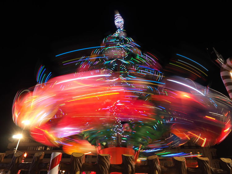 Multi Colored Illuminated Fun Nightlife Sky Arts Culture And Entertainment Low Angle View Speed Motion Amusement Park No People Night Outdoors Low Exposure Christmas Tree Christmas Lights EyeEm Gallery Shiny Toulon Long Exposure Longexposurephotography Long Exposure Shot EyeEm Best Shots Eyeemphotography Millennial Pink
