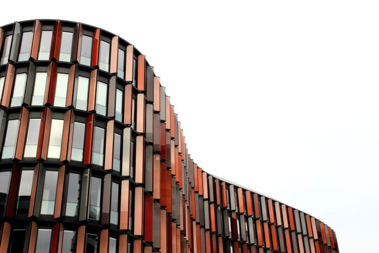 Cologne Red Facade Building Façade EyeEm Selects Architecture Built Structure Building Exterior Office Building Building Exterior Residential Building Balcony Settlement Residential Structure Repetition Capture Tomorrow