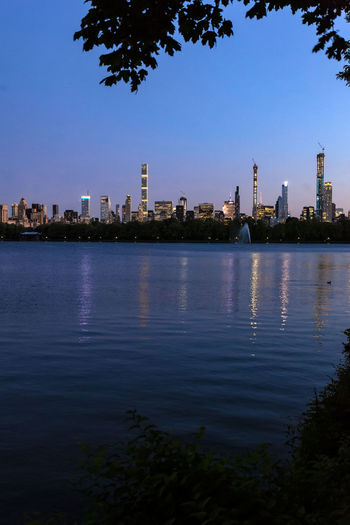 Central Park Reservoir At Sunset Facing South Central Park Central Park Reservoir Water Reflections Scenic
