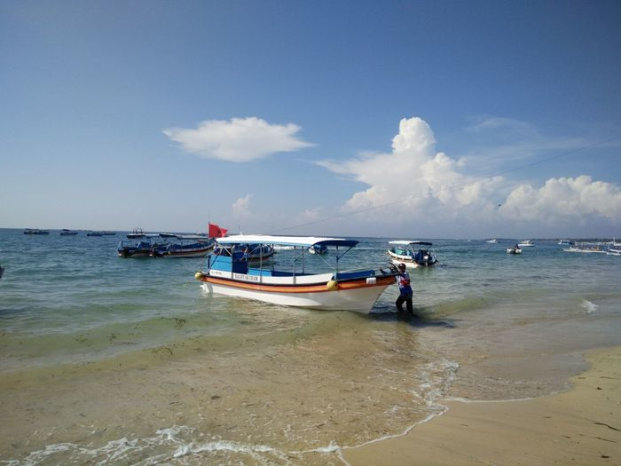 Beauty In Nature Blue Boat Cloud Cloud - Sky Coastline Day Horizon Over Water Idyllic Leisure Activity Bali, Indonesia Tanjungbenoa Mode Of Transport Nature Nautical Vessel Outdoors Scenics Sea Shore Sky Tourism Tranquil Scene Tranquility Vacations Water