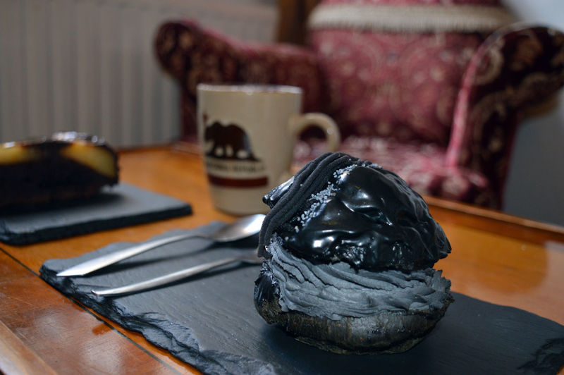 Close-up of animal skull on table at home