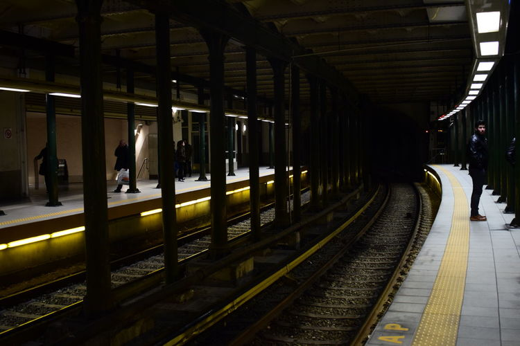 Dim Light Mind The Gap People Rails Train Station Waiting Photography