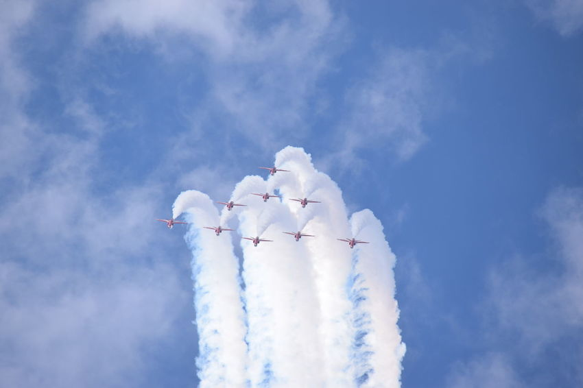 Southport Airshow 2016 Red Arrows Air Display Air Display  Airshow Blue Sky Jetplanes Formation Smoke Trails Red Arrows Cloudy Flying