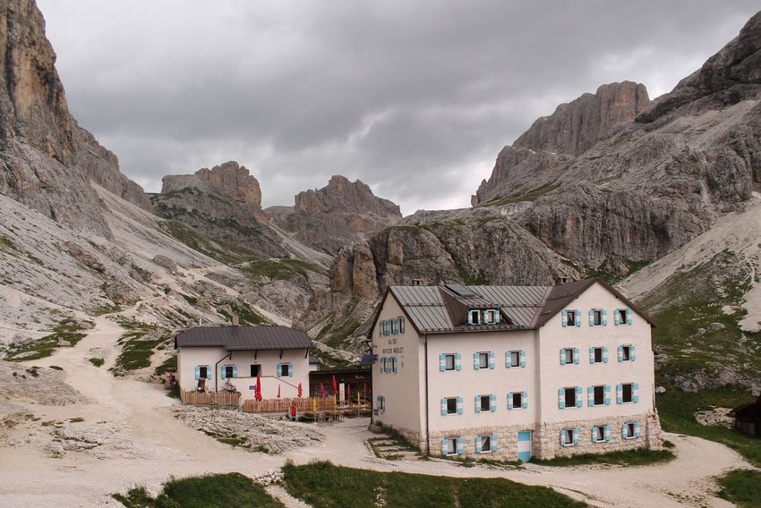 Architecture Building Exterior Built Structure Mountain House Sky Outdoors No People Tranquil Scene Cloud - Sky Day Tree Nature Femalephotographerofthemonth Taking Photos 43GoldenMoments Popular Photos EyeEm Best Shots EyeEm Physical Geography Rocky Mountains Vajolet Landscape Scenics Dolomiti