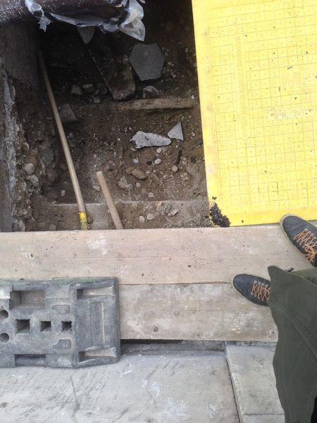 Construction Danger Destruction Hole One Person Repaired Shoe Street