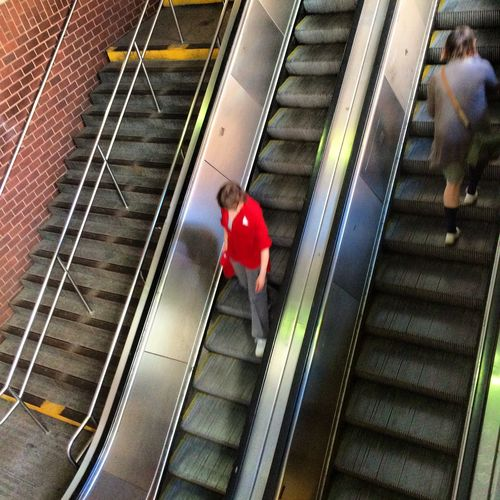 Subway entrance/exit NYC Contemporary Escalator Metal Modern People Railing Shadow Staircase Steps Steps And Staircases Walking