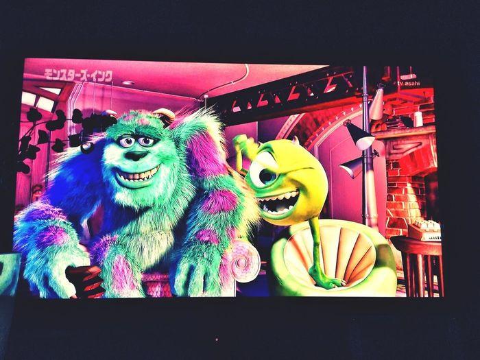 Watching A Movie Watching Tv Monsters INC Having Fun