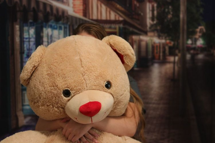 Girl Holding Stuffed Toy At Night