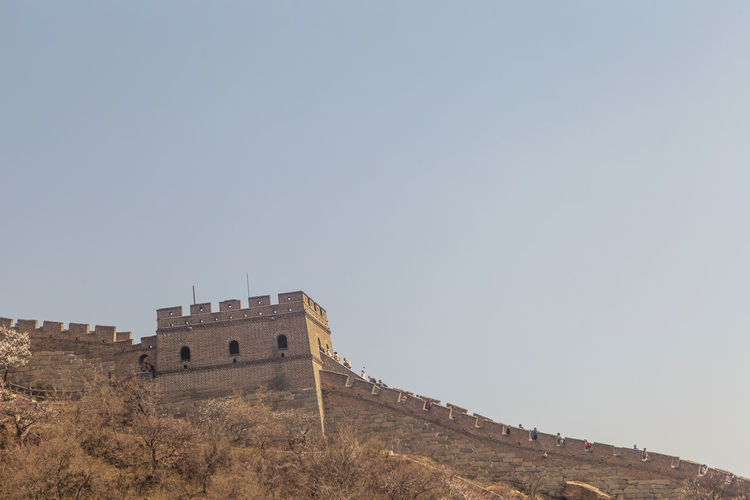 Low angle view of fort against clear sky