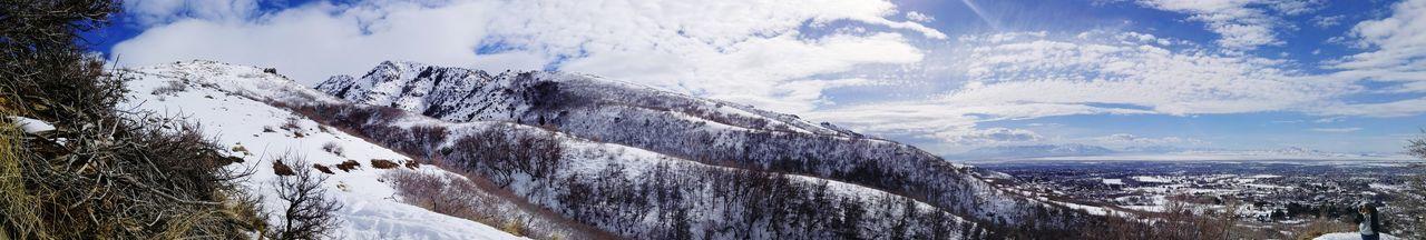 Cloud - Sky Outdoors Nature Beauty In Nature Utah Scenery Snowcapped Mountain Mountain Range Wintertime Winter Wonderland Mountain View Wasatch Mountains WasatchFront Mountains And Sky Panoramashot Panoramic Views