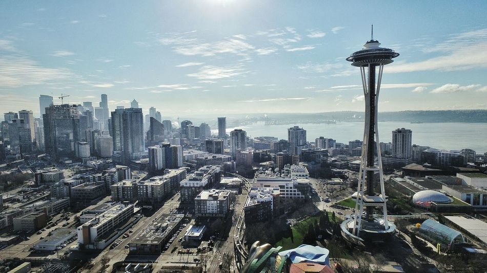 Out in Seattle at the Emp Museum Flying my Drone  around the Space Needle Check This Out Dronephotography Aerial Photography Aerial View Aerial Shot Up Up And Away Open Edit