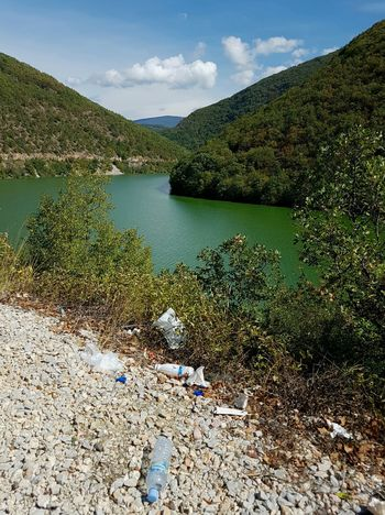 Macedonia Drim . Unfortunately, people are throwing away all sorts of rubbish in this beautiful nature. I have even seen complete sofas.Beauty In Nature Landscape Scenics No People Nature Day Water Outdoors Tranquility Tree Mountains Green Emerald Emerald Green