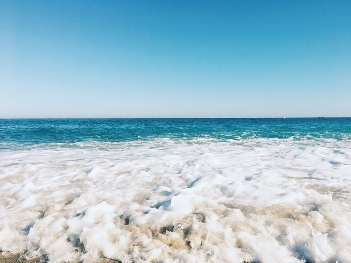 Ocean Copy Space Copyspace Horizontal Background Ocean Sea Sea Beach Sky Water Land Horizon Over Water Beauty In Nature Clear Sky Horizon Scenics - Nature Tranquility Tranquil Scene Nature Blue Motion No People