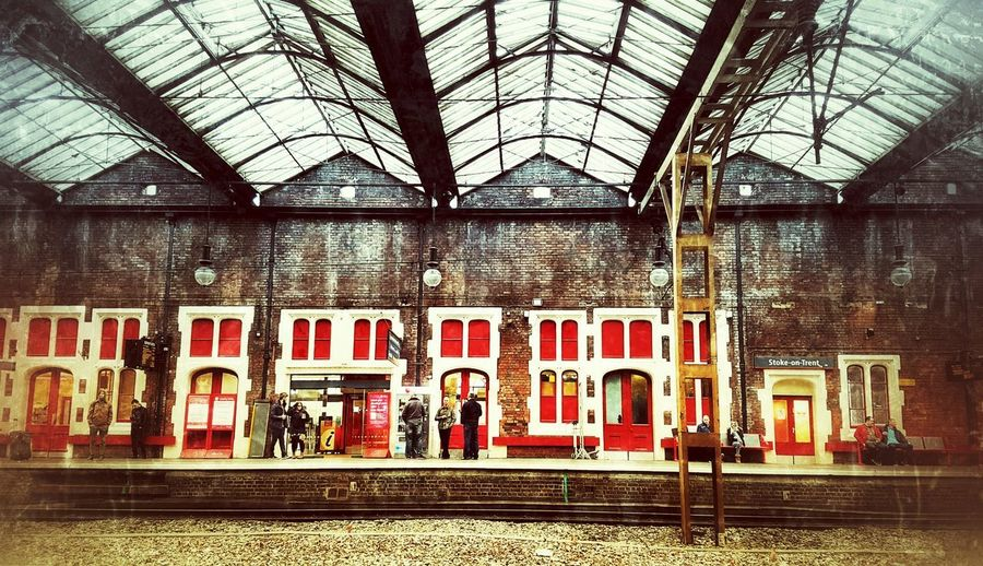 Train Station Red Colours Red Doors And Windows City Architecture Building Exterior Built Structure Railway Station Railway Station Platform Railway Track