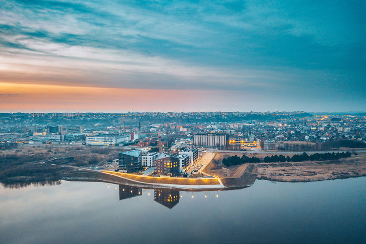 After sunset Aerial Shot City DJI Mavic Pro DJI X Eyeem Drone  Aerial Aerial View Architecture Building Building Exterior Built Structure City Cityscape Cloud - Sky Drone Photography High Angle View Illuminated Mavic Mavic Pro Nature New Buildings No People Outdoors Reflection River Sky Spring Sunset Transportation Water Waterfront