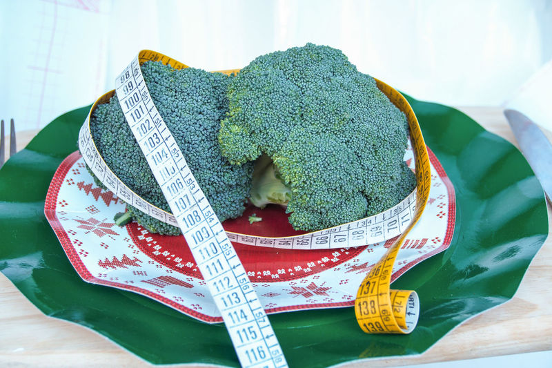 Christmas Diet Losing Vegetarian Food Broccoli Close-up Healthy Eating Holydays Meter - Instrument Of Measurement Table Weightloss