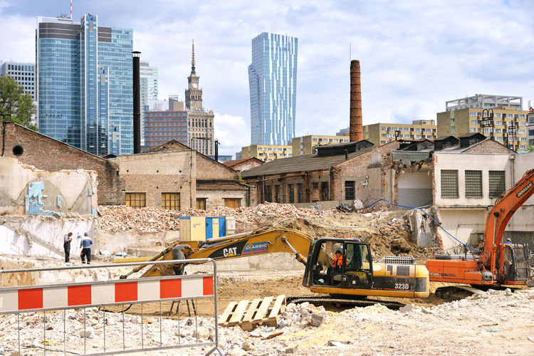 Renovation City Built Structure Construction Machinery Construction Site Cityscape Outdoors Construction Warsaw Warszawa  Poland Eastern Europe Europe Travel A New Perspective On Life