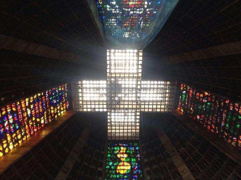 Cross Multi Colored Illuminated Indoors  No People Architecture Day Church Faith Hope Silence Time Eternity Profundity
