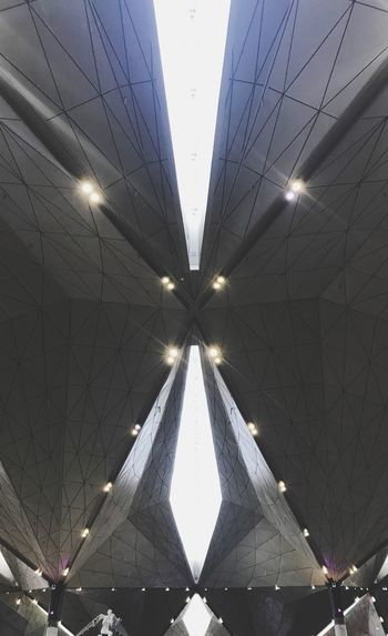 Architecture Low Angle View Built Structure Indoors  Illuminated Saint Petersburg Pulkovo Airport Simmetry