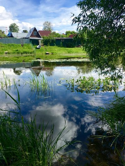 Beauty In Nature Building Exterior Built Structure Country Life Countryside Dubrovitsi Green Color House Nature No People Non-urban Scene Outdoors Reflection Russia Standing Water Summer Tranquil Scene Water Waterfront