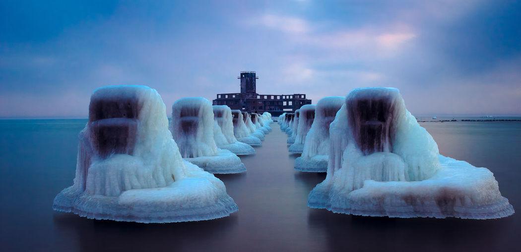 Ice troopers. Adventure Baltic Cloud - Sky Dengler Frozen Gdynia Ice Landscape Longexposure Matthias Nature Outdoors Poland Sea Sky Snapshopped Snow Sunrise Torpedownia Travel Traveling Water Winter Wintertime