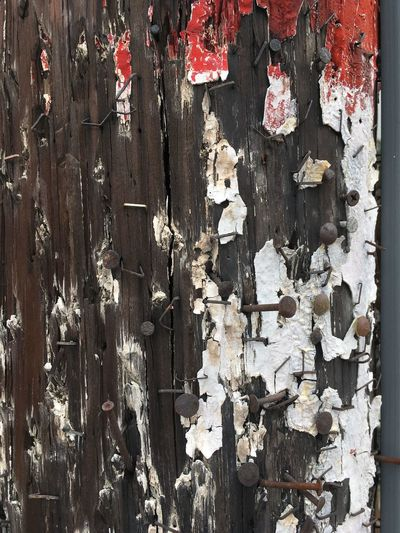 Backgrounds Close-up Full Frame Large Group Of Objects Nails No People Outdoors Paint Weathered Wood - Material Wood Pole Wooden