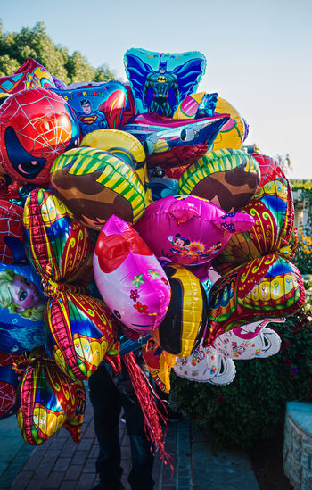 Multi colored balloons for sale in street market