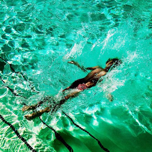 Teenage Boy Falling In Water