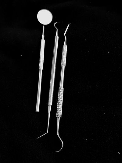 Dentist Tools No People Night Black Background Illuminated Indoors  Close-up