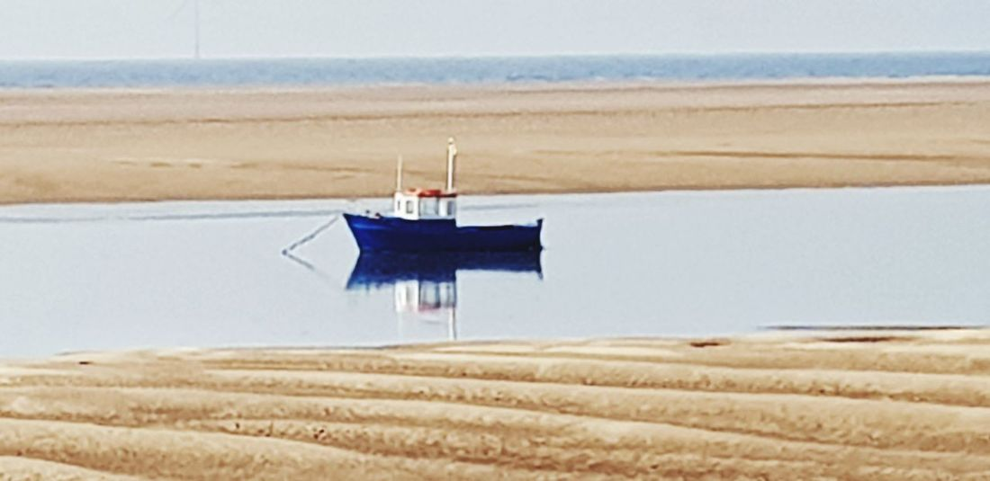Fishmans day off Fishing Boat Anchored At Anchor Hoylake Wirral Wirral Peninsula Wirralcountrypark Water Sea Beach Sky Landscape Boat Floating On Water Moored Floating Nautical Vessel