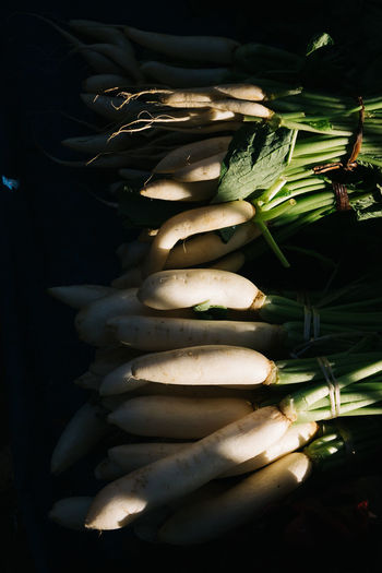 High Angle View Of Radish For Sale In Market