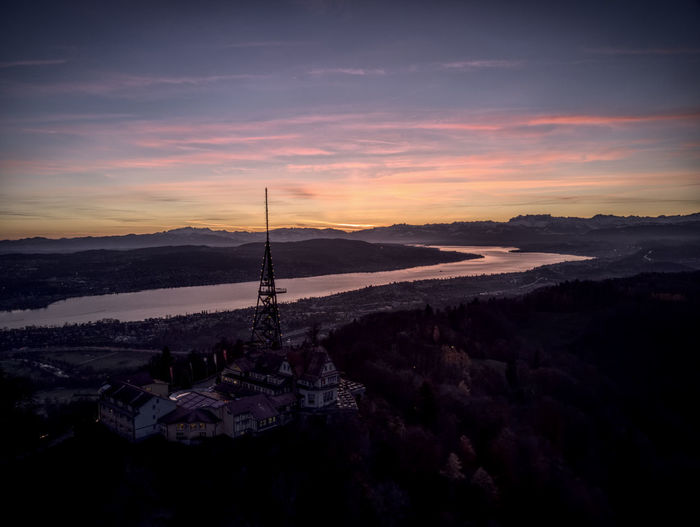 Drone  Aerial Photography Architecture Beauty In Nature Built Structure Day Dronephotography Landscape Mountain Nature No People Outdoors Scenics Sky Sunrise Sunset Travel Destinations Water üetliberg