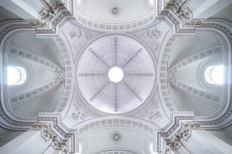 Church Lookingup Architecture_collection Architecture Dome Malmedy Belgium Symmetry