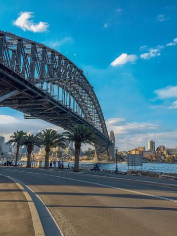 City view around the circular quay Graphiccity EyeEmNewHere Low Angle View SydneyHarbourBridge Harborbridge Palmtree Architecture Built Structure Sky Transportation Cloud - Sky Road Bridge - Man Made Structure Building Exterior Travel Destinations City The Graphic City EyeEmNewHere