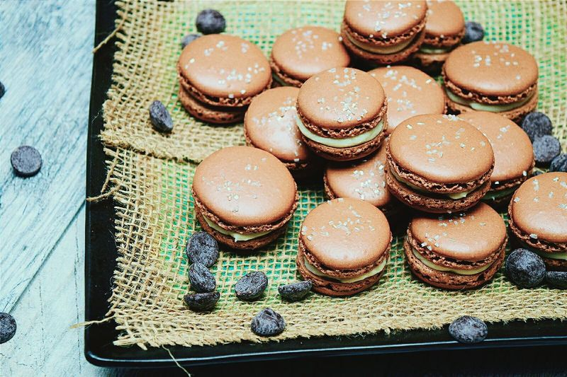 High angle view of macaroons in plate at home