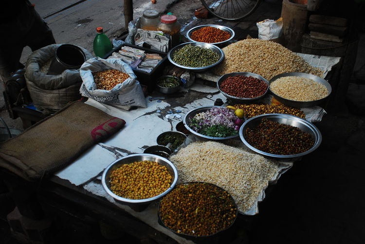 High Angle View Of Pulses For Sale At Market Stall