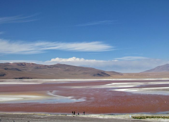 Scenic view of a pink lake against sky and mountains