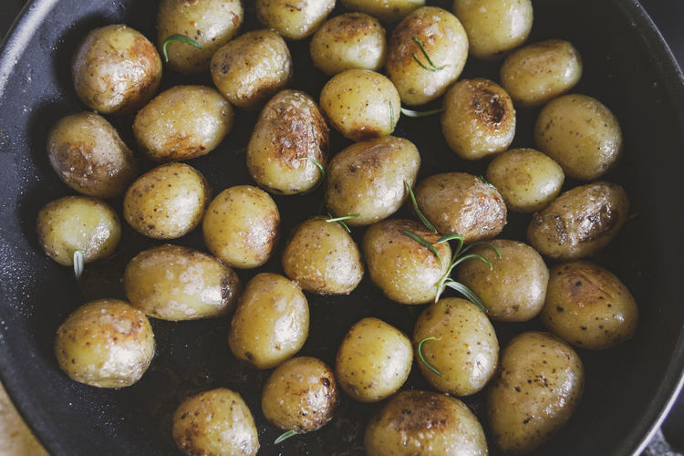 High angle view of potatoes in container