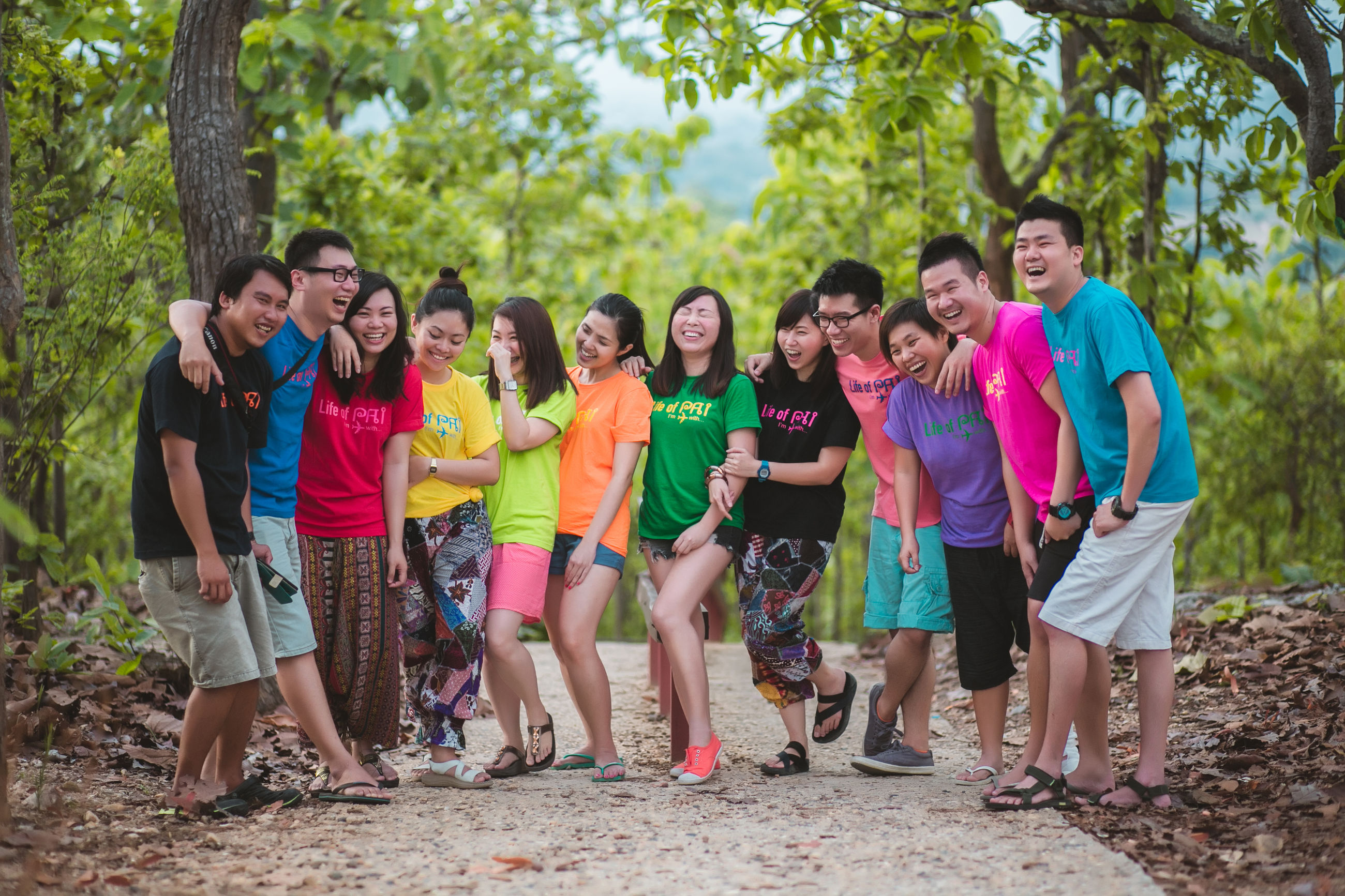 young adult, young women, happiness, looking at camera, tree, smiling, casual clothing, day, outdoors, togetherness, portrait, medium group of people, leisure activity, fun, excitement, cheerful, real people, forest, friendship, standing, full length, lifestyles, nature, adult, people